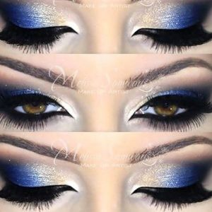 Blue White Matte Eye Pallet Liner Smokey Glam